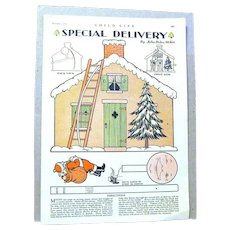 Authentic Children's Christmas Activity Page with Santa from 1930's Magazine