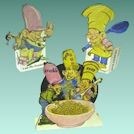Vintage 1940s Kellogg's Cereal Advertising Snap, Crackle, and Pop Standing Paper Die Cut-outs
