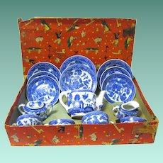 Vintage 1940's Blue Willow Toy Tea Set, in Original Box,  Japan