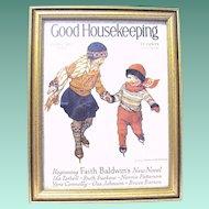 Framed Original Jessie Wilcox Smith 1929 Good Housekeeping Magazine Cover