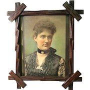 Framed 1880's Colored Portrait of Frances Folsom Cleveland, Youngest 1st Lady