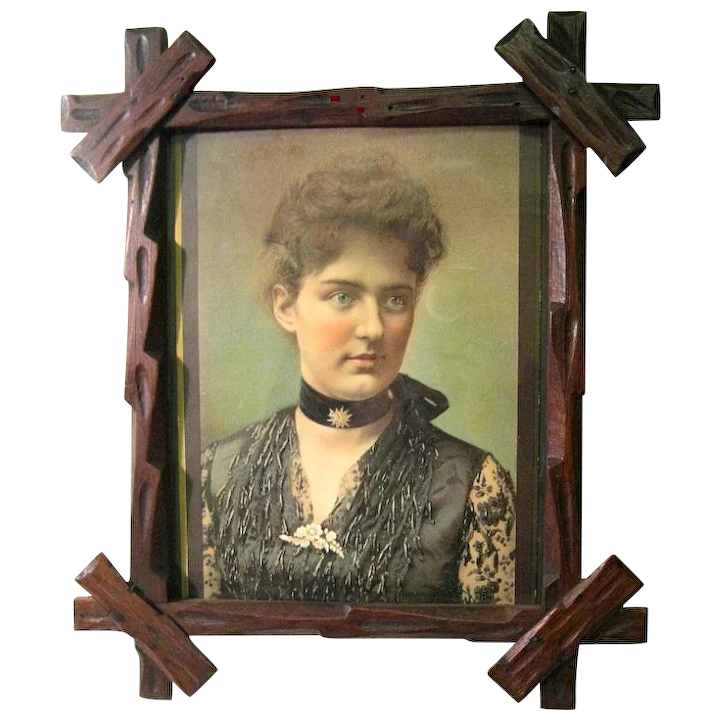Framed 1880 S Colored Portrait Of Frances Folsom Cleveland Youngest 1st Lady