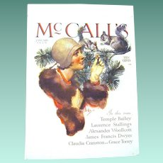 """January 1919 McCall's Magazine Cover by Famous Illustrator, Neysa McMein, """"Feeding the Squirrels"""""""
