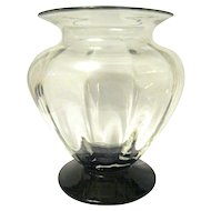 Clear Crystal Optic Panel Vase with Ebony Colored Foot