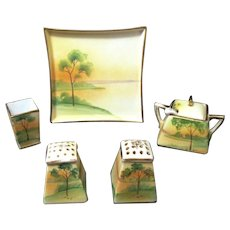 Vintage Nippon Hand Painted Porcelain 7-Piece Condiment Set