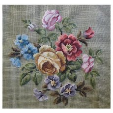 Large Preworked Vintage Floral Needlework Tapestry Canvas, Tagged Paragon