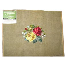 Vintage Unused Needlepoint Tapestry Canvas  with Preworked Floral Center, Tagged Paragon