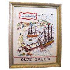 Hand Made Framed Crewel Work Embroidery of Olde Salem