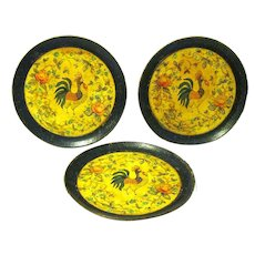 Three Mid-century Hand Painted Paper Mache Serving Plates, Rooster Design