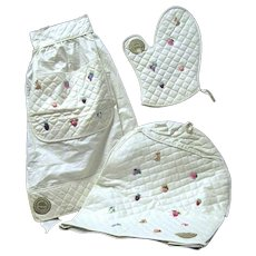 Unused 1950's Matching Kitchen Set Quilted Appliance Cover, Apron, Oven Mitt, USA