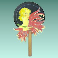 Vintage Art Deco Lady with Feathers on Fan-shaped Bridge Tally
