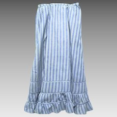 Long Blue Edwardian Skirt or Petticoat with a Woven White Striped Design