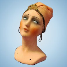 Vintage Papier Mache Flapper Head, marked Germany