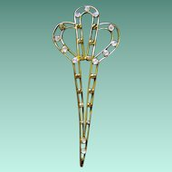 Fancy Metal Edwardian Hair Comb/Ornament/Pick with Brilliants