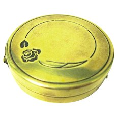 """Marshall Fields Metal Powder Compact, """"Blue Rose by Lanchere"""""""