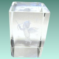 Clear Crystal Paperweight with Ethereal Cupid