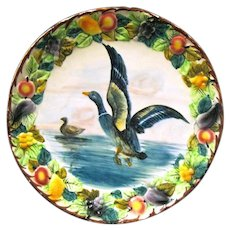 Large Vintage Pottery Italian Wall Plate, Mallard Duck Surrounded by Fruit Wreath