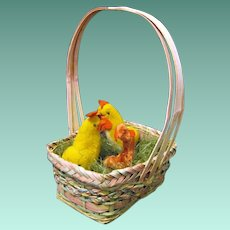 Japanese Cotton and Chenille Easter Roosters from the 1940s