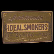 1898 Cardboard Store Window Sign for Jenkinson's Ideal Smokers (Cigars)