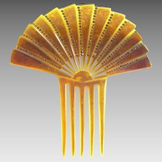 Large Fan shaped Mantilla Style Celluloid Hair Comb from the 1920s