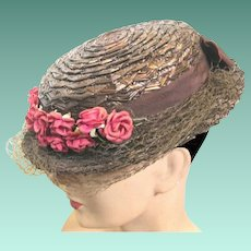 "1940's Chocolate Straw Lady's Hat, ""Jean Adair"" at The Union, Columbus, Ohio"