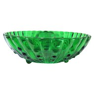 1940s Large Green Glass Berry Bowl, Oyster and Pearl Pattern, Anchor Hocking