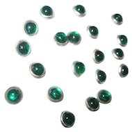 Tiny Vintage Green Glass Buttons, Paperweight Shape