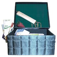 Vintage Hunter Green Quilted Sewing Box Filled with Accessories