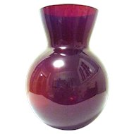 """8"""" Tall Heavy Ruby Red Vase with Thick Ground Rim"""