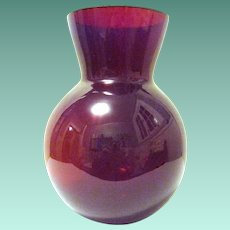 "8"" Tall Heavy Ruby Red Vase with Thick Ground Rim"