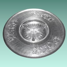 Mid Century Heavily Embossed Aluminum Lazy Susan Tray with Glass Insert