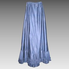 Long Bright Navy Blue Sateen Edwardian Skirt or Petticoat