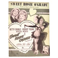 """Sweet Rosie O'Grady"" Vintage Sheet Music,  from the Movie with Betty Grable Cover"