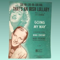 """Too-Ra-Loo-Ra-Loo-Ral, That's an Irish Lullaby"", 1946 Vintage Sheet Music"