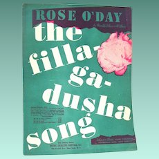"""Rose O'Day, The Filla-ga-dusha Song"" 1941 vintage Irish Sheet Music"