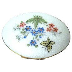 Vintage Guilloche Enamel Oval Compact with Bouquet of Flowers