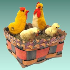 1940's japanese Spun Cotton Roosters and Chicks in Easter Basket