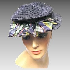 1939 /1940's Navy Blue Lady's Straw Pancake Hat for the Easter Parade