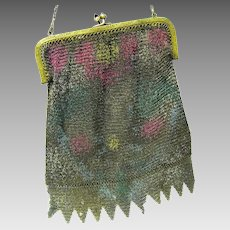 Vintage Dresden Mesh Fringed Evening Purse from the 1920s