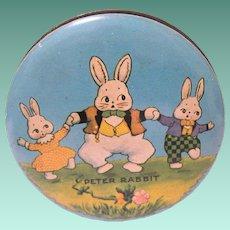 Small  Vintage Peter Rabbit Lidded Candy Tin, Harrison Cady Art
