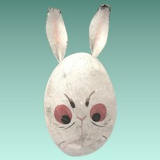 Ca. 1910 Papier Mache Bunny Head Candy Container with Mean Expression