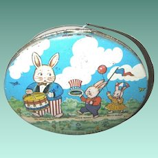 1920's Patriotic Peter Rabbit Picnic Basket Candy Tin, Harrison Cady Characters