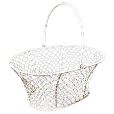 Small Old Painted White Wire Swing Handled Basket