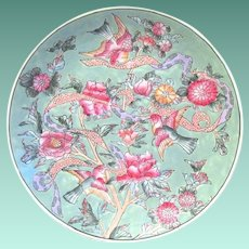 Vintage Ceramic Decorative Plate with Birds, Flowers, Hand Painted in Macao