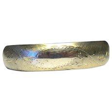 Engraved Gold Filled Vintage Hinged Bangle Bracelet