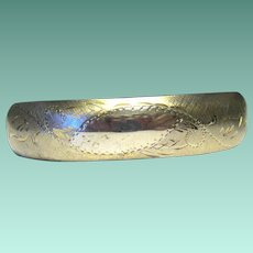 Engraved Gold Filled Vintage Hinged Bangle Bracelet