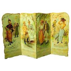 Standing Die-cut Four Panel U.S. Rubber Advertising Calendar, Gibson Girl Era