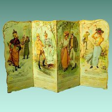 Standing Die-cut Four Panel U.S. Rubber Advertising Calendar, Gibson Girl Era