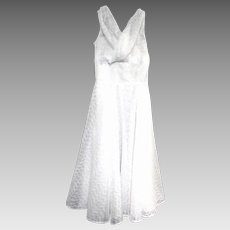 1950's White Eyelet Tea Length Gown or Party Dress, Empire Waist