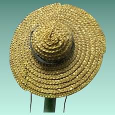 Pre-1900 Miniature Doll Hat made of Straw